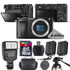 Sony Alpha a6000 Mirrorless Digital Camera Black + EXT BATT + Flash -16GB Kit