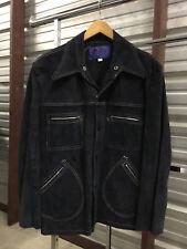 Mens 46 - Vtg Skalar Western Cafe Racer Biker Suede Leather Snap Jacket Usa Blue