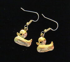 Rubber Ducky Earrings 24 Karat Gold Plate Baby Shower Bath Time Ducks Duck Beach