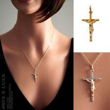 PENDENTIF Femme CROIX Christ CLASSIQUE en Plaqué Or 18 carats NEUF  BEAUX BIJOUX