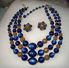 LISNER Vintage Blue & Gold Bead Necklace & Earring Set