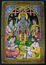 Vishnu Hindu God Satyanarayana Puja Sequined Wall Hanging * Fair Trade 80x110cm