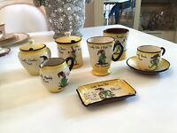 Vtg Lot Of Lucky Pixie Torquay English Pottery Mottoware 7 Pieces Cup Mug Dish