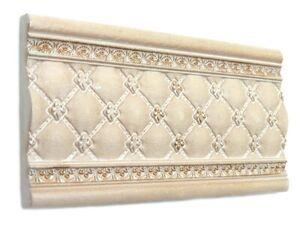Fliesenbordüre 15x7,5 cm Fliesen Bordüren Bad Bordüre Capitone crema rustikal
