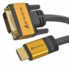 aricona HDMI auf DVI Kabel High End Gold Monitor Kabel Nylon FULL HD 19 pol 5m