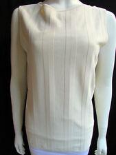 f6462e41 New Valentino Women Basic Cream Off White Viscose Tank Top Crew Neck  Stripes L