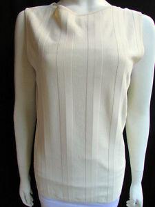 New Valentino Women Basic Cream Off White Viscose Tank Top Crew Neck Stripes L