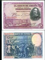 SPAIN 50 PESETAS 1928 P 75 AU-UNC