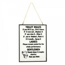 TOILET RULES GLASS METAL FRAME PLAQUE QUOTE HANGING MESSAGE GIFT ROPE FUNNY NEW