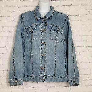 Venezia Lane Bryant Womens Denim Jacket Plus Size 22 24 Pockets Blue Jean Button