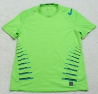 Nike Pro Green Crewneck Tee T-Shirt Top Man Short Sleeve Large Polyester Spandex
