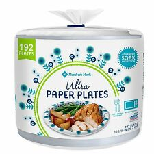 Members Mark Ultra Paper Plates 10 in Heavy Duty Disposable 192 ct. Soak Proof