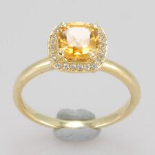 Gold Natural Citrine Natural Diamond Ring 6x6mm Cushion Cut Solid 14K 585 Yellow