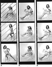 ORIGINAL 1960's PIN-UP NUDE PROOF SHEET (9 PICS) ~ SONDRA POSING FOR THE CAMERA