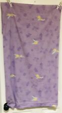 Vintage Tinkerbell Flat Twin Top Sheet Cotton Purple Green Pixie Fabric Material