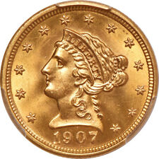 $2 1/2 1907 Liberty MS 66 CAC-- PCGS+CAC=Superb Gem 1 of finest known & CHEAP
