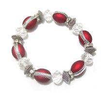 Red Silver Glass Bead Crystal Stretch Bracelet Ladies Women Girls Dress Jewelry