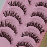 Soft Long Thick Cross 5 Pairs Makeup Beauty False Eyelashes Eye Lashes Extension