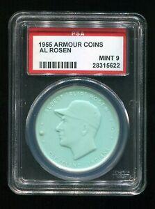 VINTAGE - 1955 - ARMOUR COINS - AL ROSEN - CLEV. INDIANS - AQUA - PSA 9 - MINT