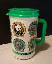 Vtg. Whirley Travel Mug Cup Thermo 1990 Endangered PETA Recycle Enviromug Panda