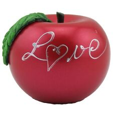 Apfelkerze Love lackiert Handarbeit 10cm phenolrot Valentinstag Liebe Kugelkerze