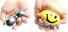 Left & right brain exercise, 2 Iron w chime + 1 Squeeze Ball Hand stress Relief