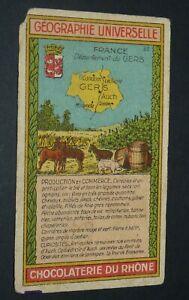 CHROMO 1920-1930 CHOCOLATERIE DU RHONE GEOGRAPHIE FRANCE GERS AUCH CONDOM