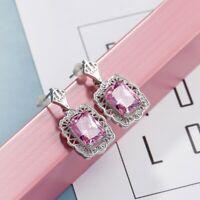 Dazzling Square Light Blue Topaz Pink Topaz Gemstone Silver Stud Hook Earrings