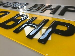 Gel 3D Number Plates Front and Rear for Car Van - Gloss Black Domed Resin Pair