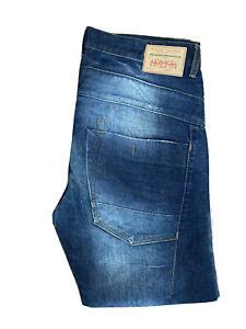 Original River Island Straight Leg Blue Distressed Denim Jeans W34 L29 ES 8085