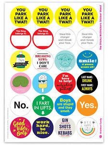 Set of 24 Funny Stickers 18+ Random Cheeky Funny Joke Amusing Comedy Humour
