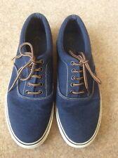 Next Mens UK Size 9 Navy Blue Canvas Pump Plimsolls lace ups