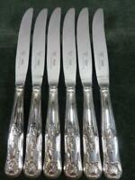6 nice Vintage Viners Dinner Table Knives Silver Plated kings Pattern