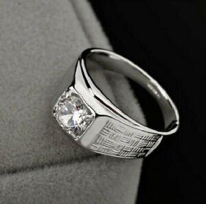 Men's Jewellery 14K White Gold Over Round cut 1.25CT D/VVs1 Diamond Band Ring