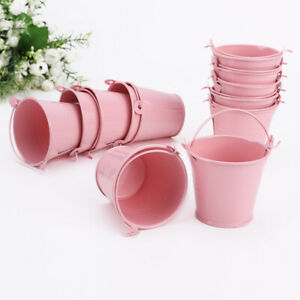 Set 12 Small Mini Buckets Party Weddings Crafts Metal Pails Pink