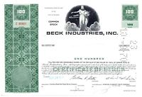 Beck Industries, Inc. Stock Certificate 100 Shares