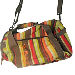 Dakine striped Gym Duffle Bag Zip Closure Unisex Brown Orange Green Messenger