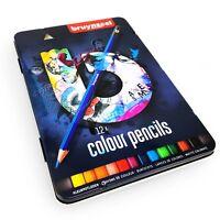 Bruynzeel Crayons de Couleur - 12 Assorties En Métal Cadeau Boite - Bleu Set