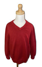 Brooks Brothers Boys Red Fine Gauge V-Neck Sweater XS 5/6