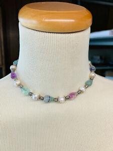 vintage cultured pearl & natural crystal & sterling sliver clasp 15'' necklace