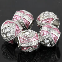 5Pcs Silver Crystal Pink Charm Floating Spacer Beads Lot Fit European Bracelet