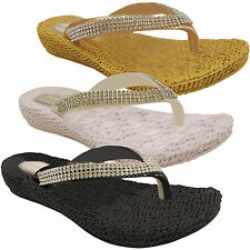 212a1472ccc4 NEW WOMENS LADIES LOW WEDGE COMFORT DIAMANTE FLIP FLOPS SANDALS TOE POST  SIZE