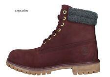 "Timberland Mens ""Premium 6 Inch"" Burgundy Waterproof Leather Boots NIB"