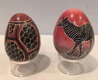 VTG Lot of 2 Stone Eggs Zebra & Animal Print Hand Carved Painted Made In Kenya