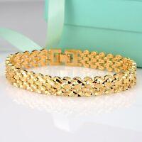 """Men's/Women's Bracelet 18K Yellow Gold Filled 11mm Chain 8""""Link GF Jewelry"""