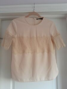 Zara XS Peach Crepe Floral Lace Short Sleeved Top