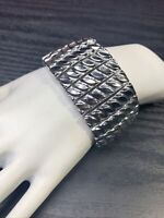 Vintage Silver Textured Detail Tone Extra Wide WOW 1950's Expansion  Bracelet