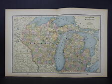 Antique Map 1897, M5#26 States of Michigan and Wisconsin