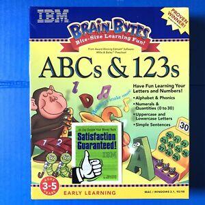 IBM Brain Bytes ABCs & 123s PC MAC/windows numbers phonics kids game NEW SEALED