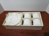 Mikasa Bone China Just Flowers A4-182 Flat Cup & Saucer Set X4 Discontinued Set